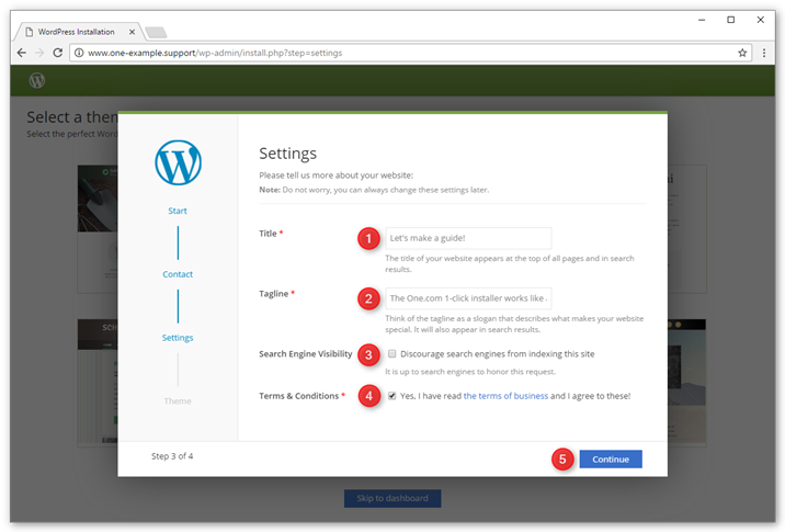 Enter the settings for your new WordPress website