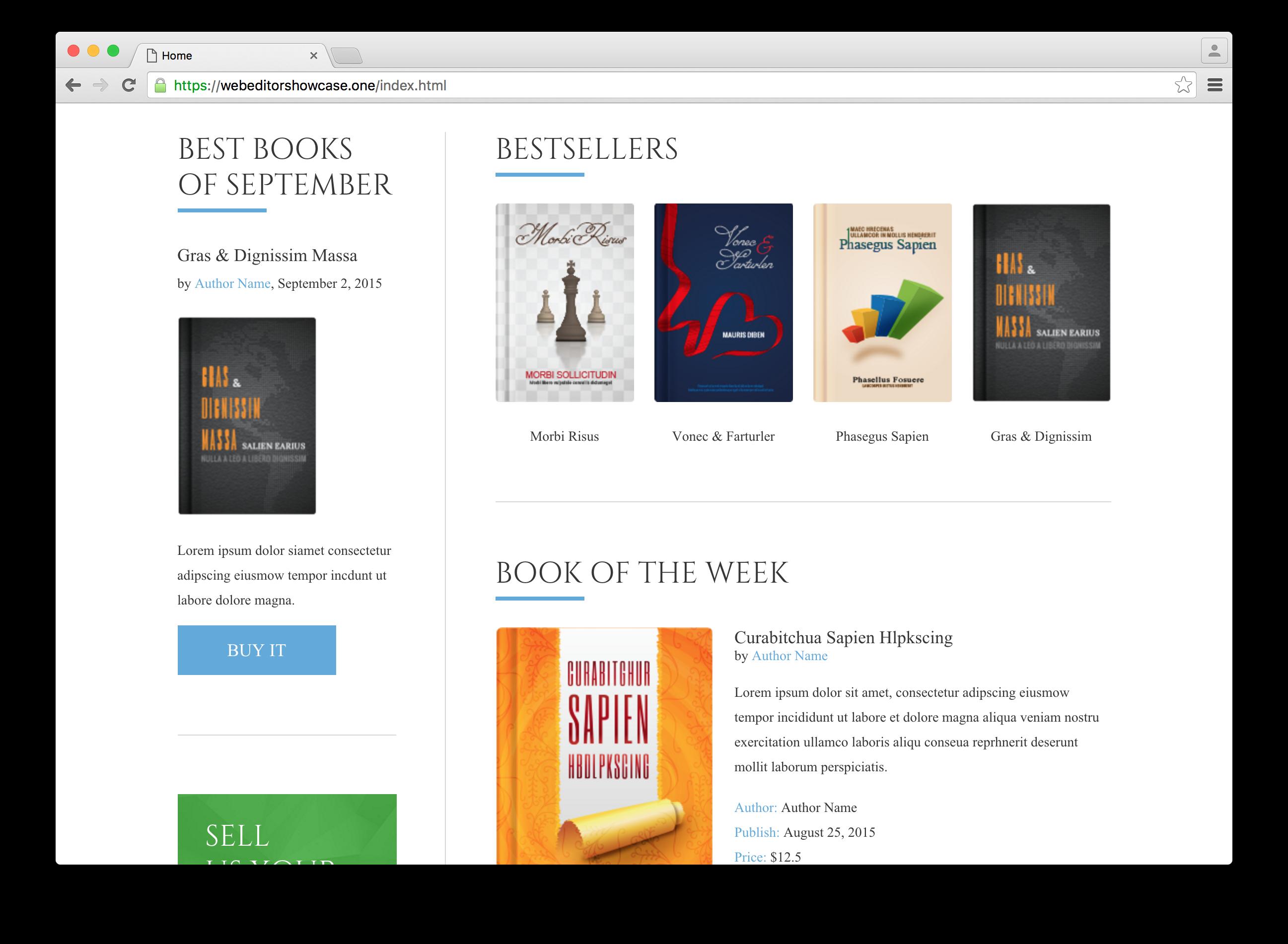 Bestsellers in example webshop