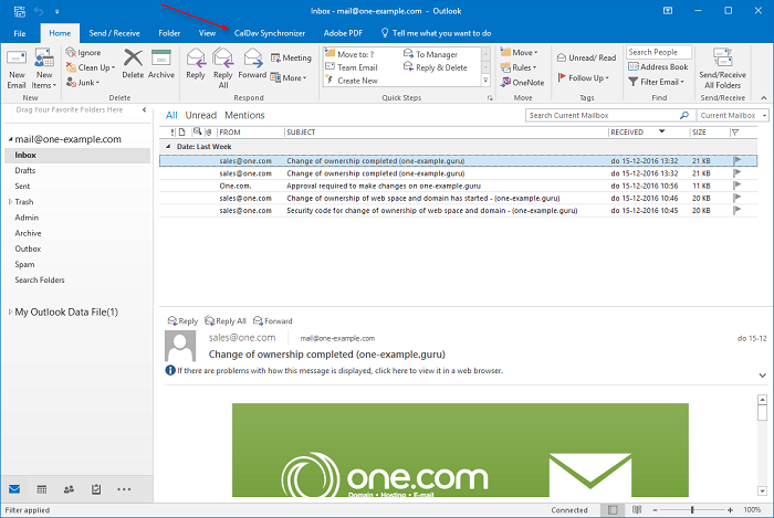 Open Outlook and go to the CalDAV Synchronization tab