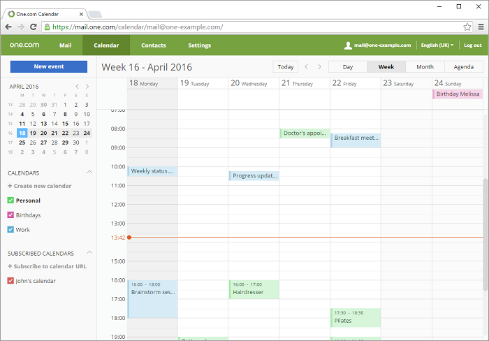 Overview of One.com Calendar