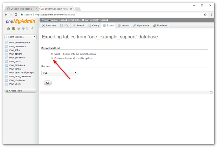 Settings to export database