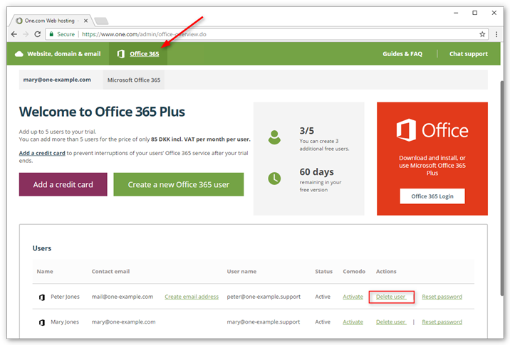 You can delete an Office 365 user from the control panel