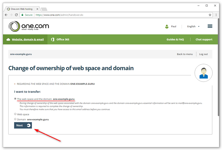 Select if you want to transfer the subscription, domain or both.