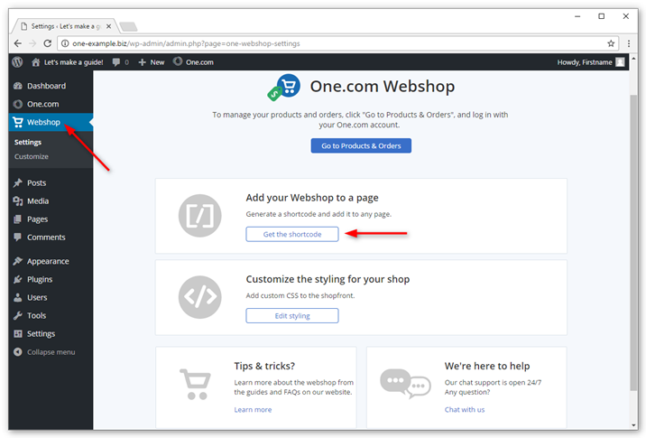 Go to settings in the Webshop plugin and click get the shortcode