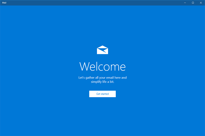 Open Windows 10 Mail and click Get started