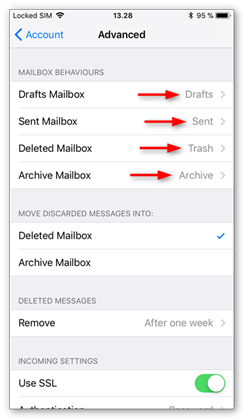 Set the correct mailbox behaviors for folders on the server