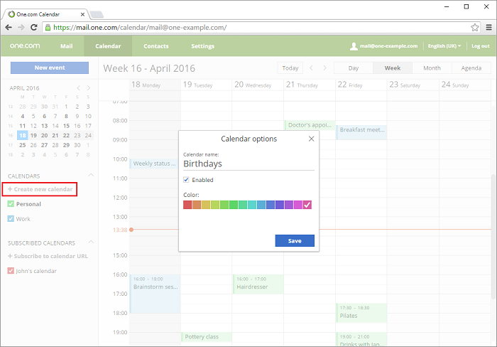 Click Add new calendar to create an additional calendar