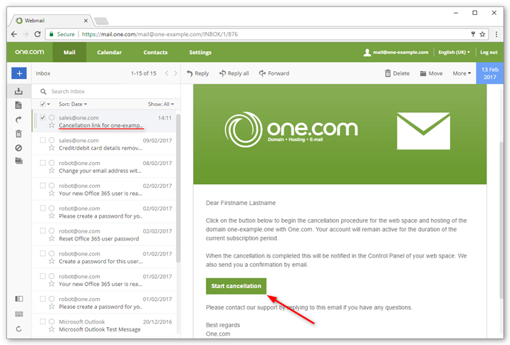 Open the email with your cancellation link in your inbox
