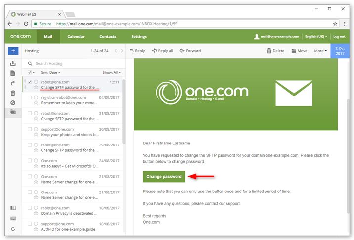 Click Change password in the email in your inbox