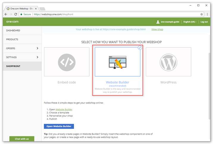 Publish your shop in Website Builder with the webshop component