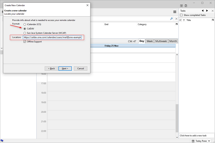 Choose CalDav under format and copy in the CalDAV url
