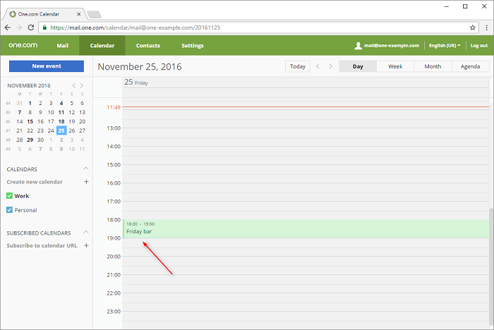 Open Webmail and create an event in your default calendar