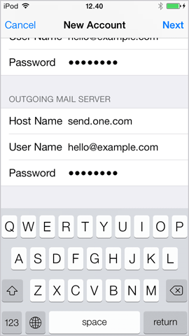 Settings for outgoing mail server on iPhone iOS 7.