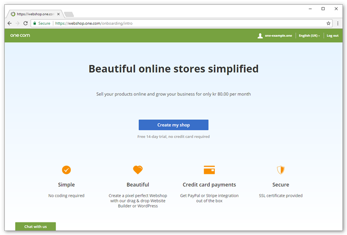 Open the Webshop from the control panel and click Create my shop