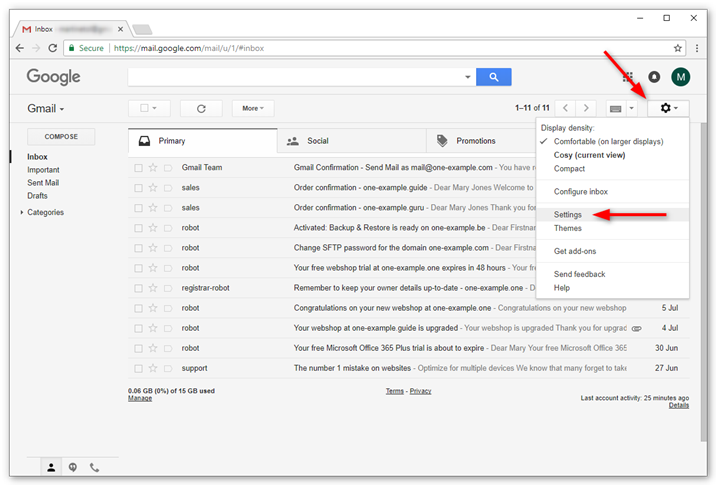 Setup POP3 and SMTP for Gmail – Support | One com