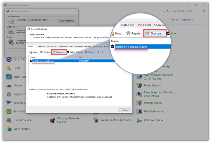 Where can I find the server settings in Outlook 2016? – Support