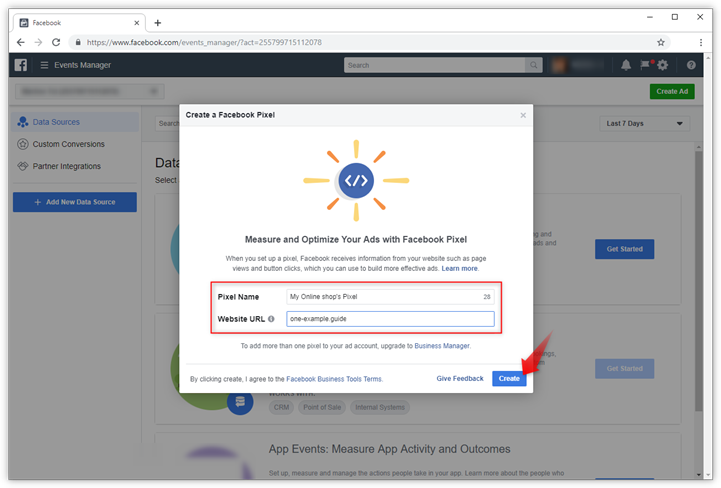 Add a Facebook pixel to the Online shop in Website Builder
